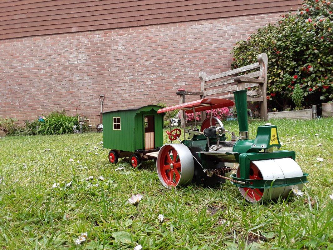 Roller and Living Van in the garden