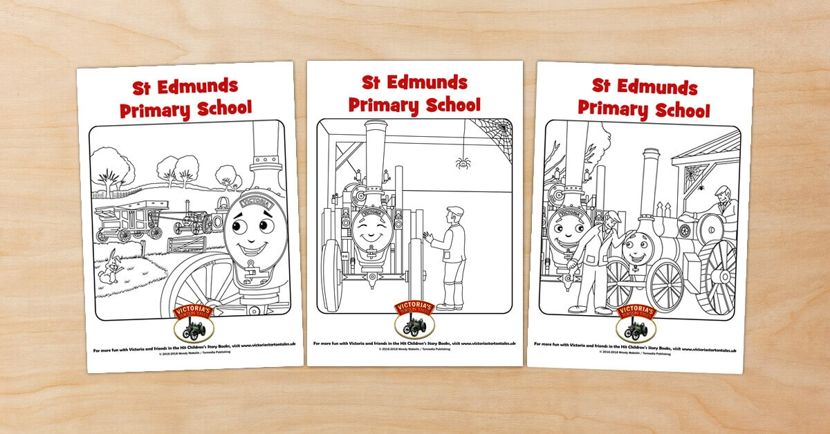 Free Victorias Torton Tales colouring pictures for St Edmunds Primary School
