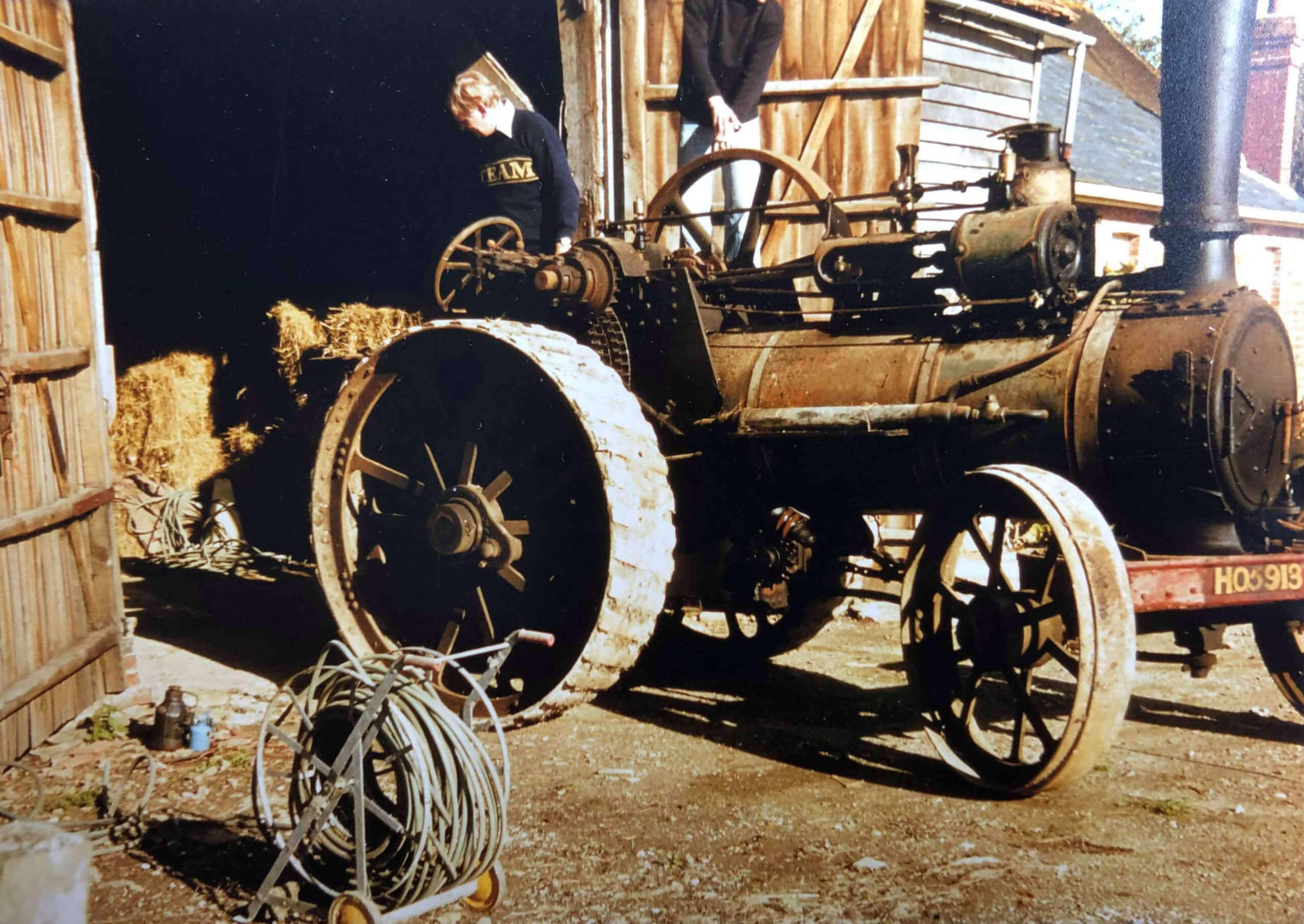 Marshall Traction Engine Victoria Empress of India no.14242 emerges from a barn in 1980 when Peter Fagg purchased her