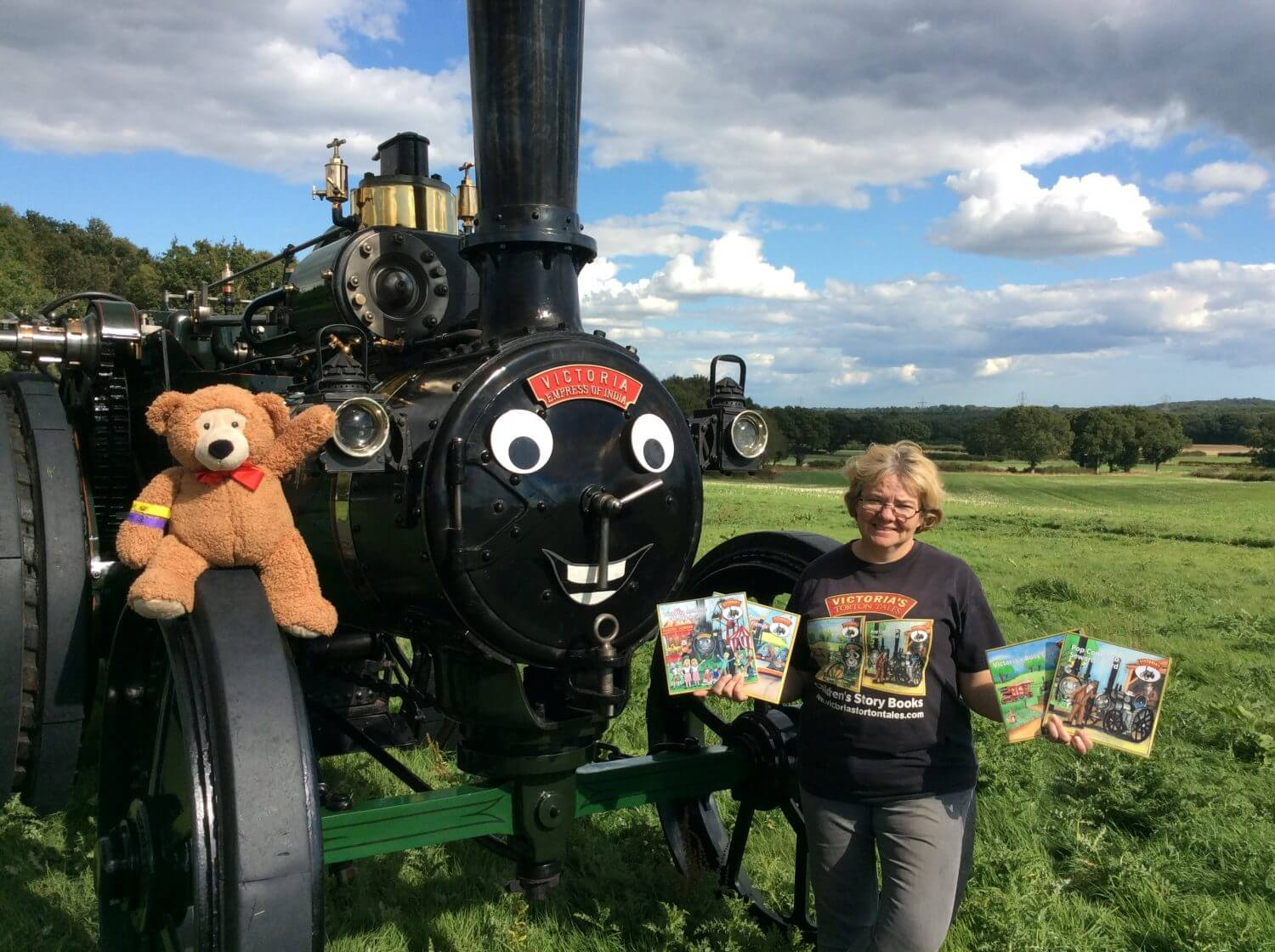 Wendy Wakelin with Victoria the traction engine, star of Victoria's Torton Tales, and new character Colin the Teddy Bear