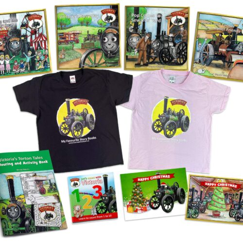 Victorias Torton Tales story books t shirts activity book counting book and Christmas cards