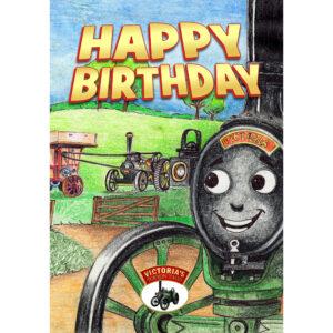 Happy Birthday Card - Victoria, Albert and the Threshing Machine - Front