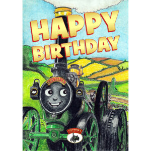 Happy Birthday Card - Victoria Climbing the Hill - Front