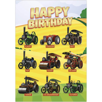 Happy Birthday - Victoria and her friends in the fields greetings card