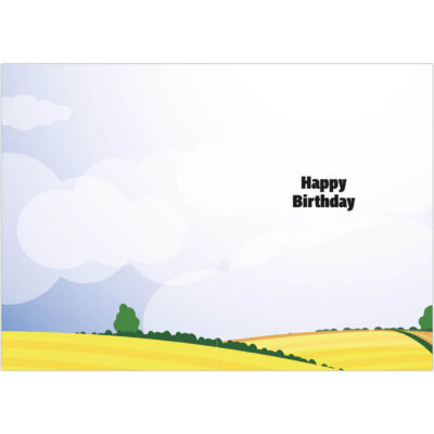 Happy Birthday - Victoria and her friends in the fields greetings card inside