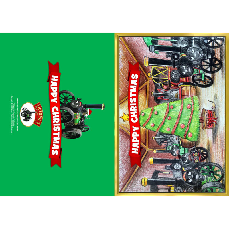 Happy Christmas Greetings Card - Front and Back