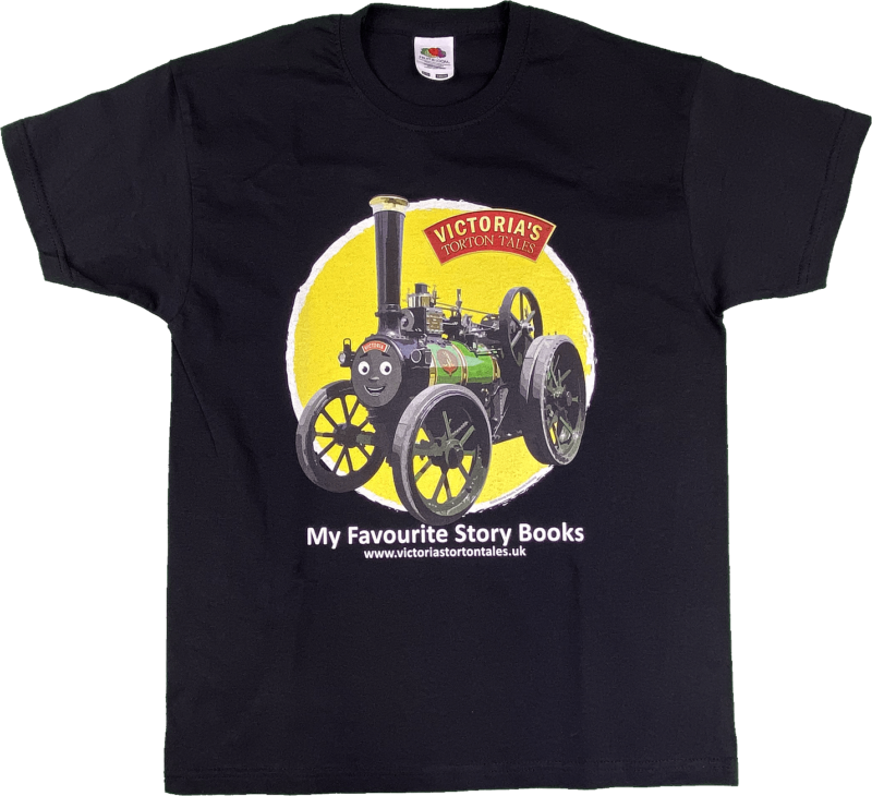 Victoria the traction engine t-shirt black aged 9-11
