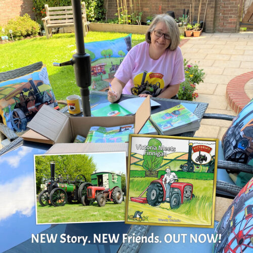Wendy Signing Victoria Meets Finnigan story books with photo of real Victoria and Finnigan